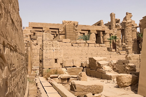 Buildings and columns of ancient Egyptian megaliths. Ancient rui