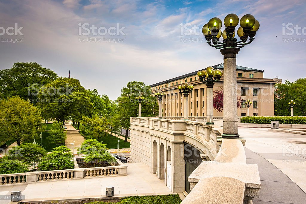 Buildings and gardens at the Capitol Complex in Harrisburg, Penn stock photo