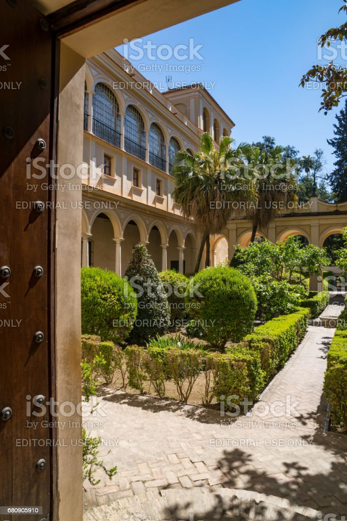 Buildings And Gardens In The Alcázar Of Seville In Andalusia Sevillia Spain royalty-free stock photo