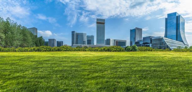 建物と緑の芝生 - 緑 ビル ストックフォトと画像