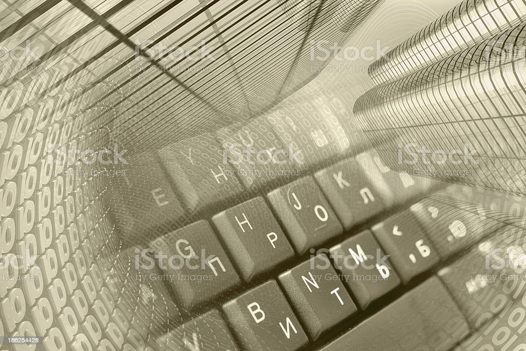 Buildings and keyboard royalty-free stock photo
