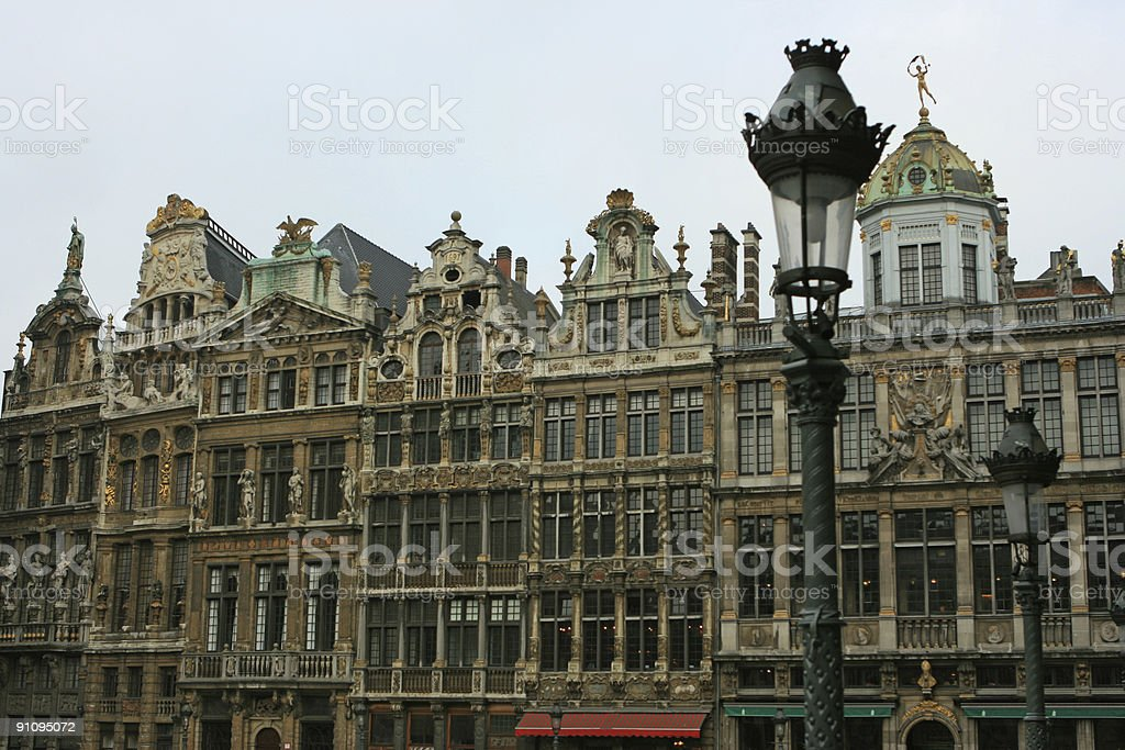 Buildings and Lantern on Grand Place Market Square Brussels stock photo