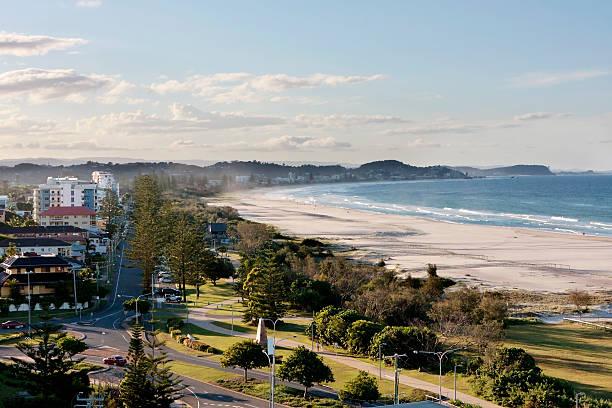 Buildings and park land at Kirra Beach stock photo