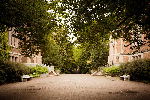 Buildings and pathway at University of Washington in Seattle stock photo
