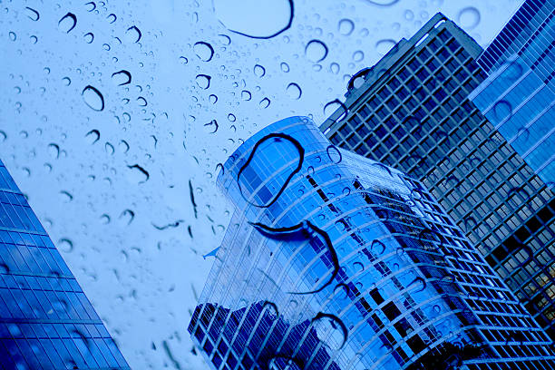 buildings and raindrops stock photo