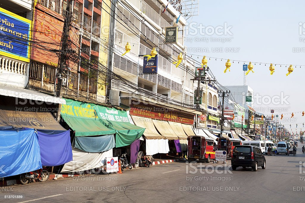 Buildings and shops in Mae Sai stock photo