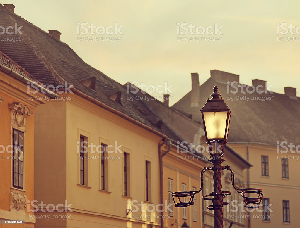 Buildings and street light in Budapest Castle royalty-free stock photo