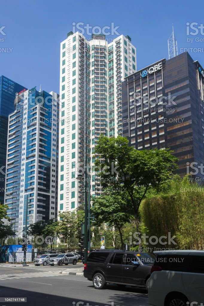 Buildings and Streets at The Bonifacio Global City in Taguig, Metro Manila, Philippines stock photo