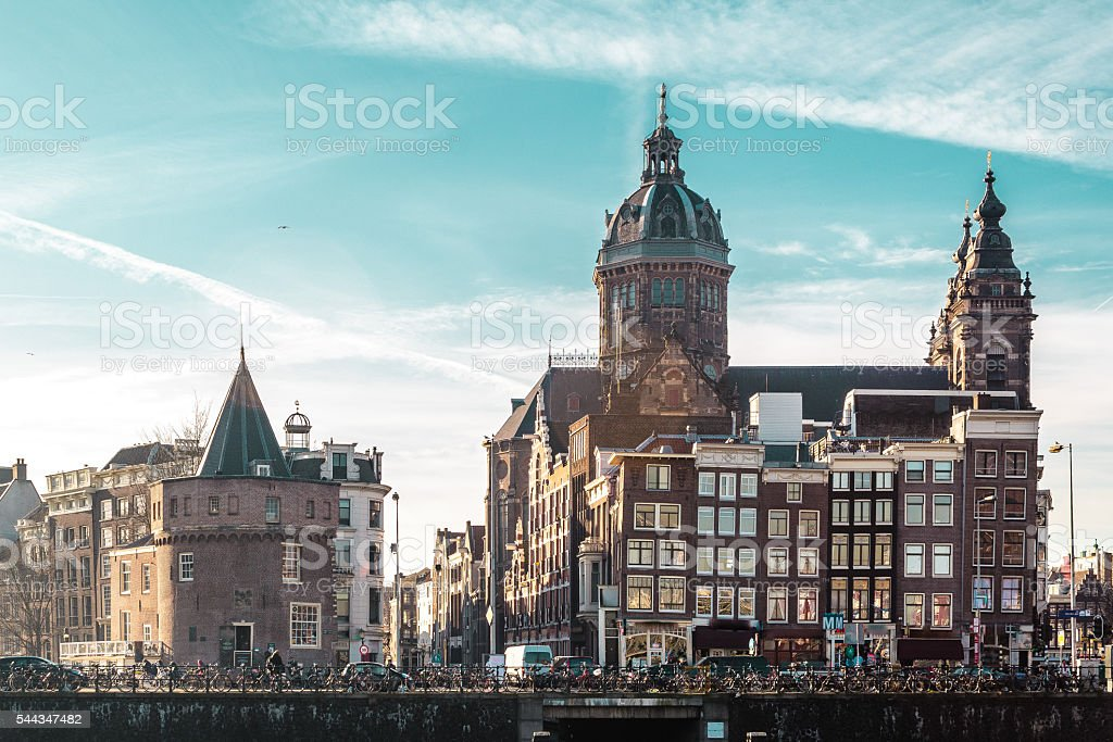 Buildings and Streets in Amsterdam, Netherlands stock photo