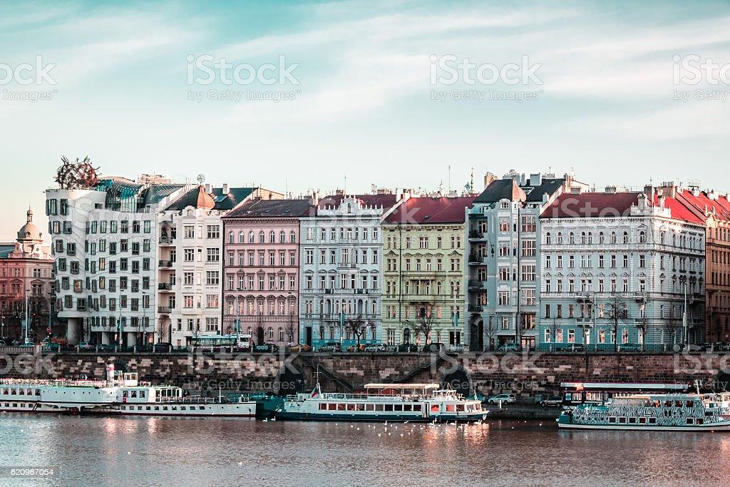 Buildings and Streets near Vltava River in Prague, Czech Republi foto royalty-free