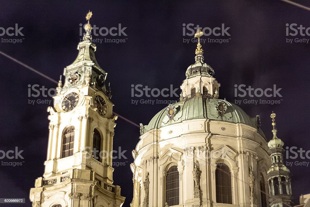 Buildings and Streets of Prague at Night, Czech Republic foto royalty-free