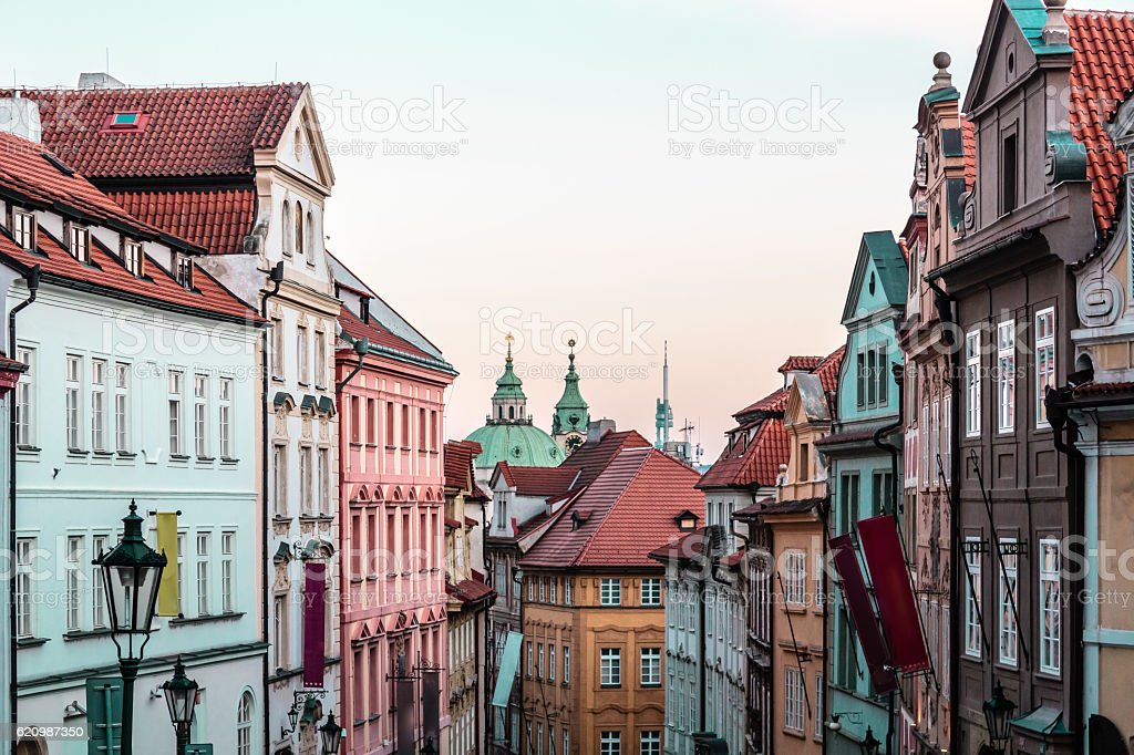 Buildings and Streets of Prague, Czech Republic stock photo