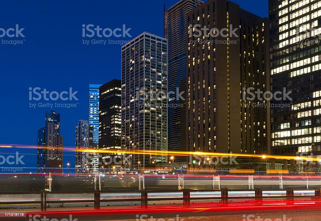 Buildings and Traffic in Downtown Chicago stock photo
