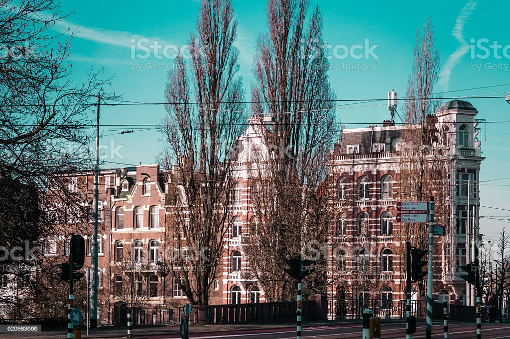 Buildings and Trees in Amsterdam, Netherlands foto royalty-free