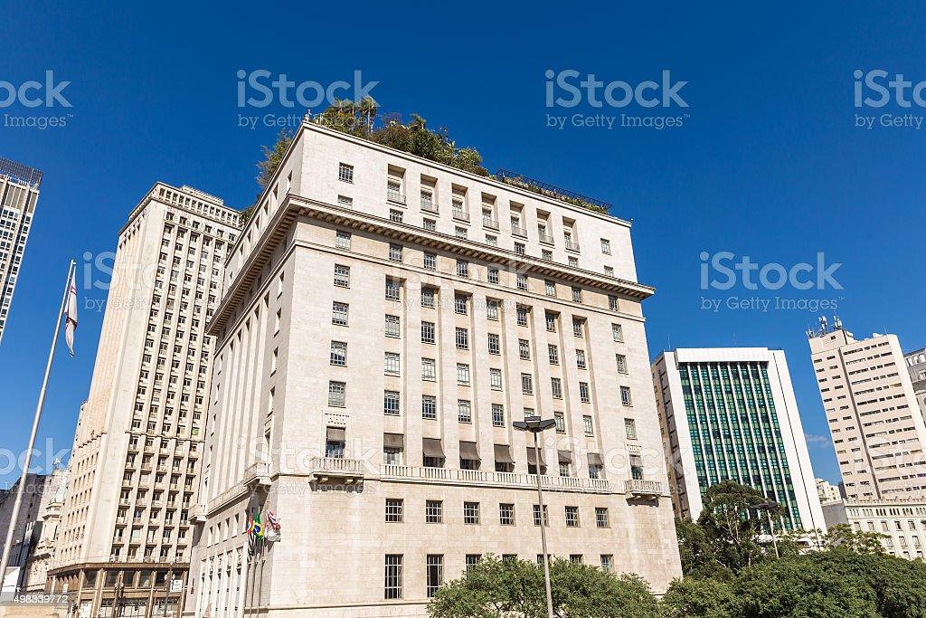 Buildings at Anhangabau Valley in Sao Paulo, Brazil stock photo