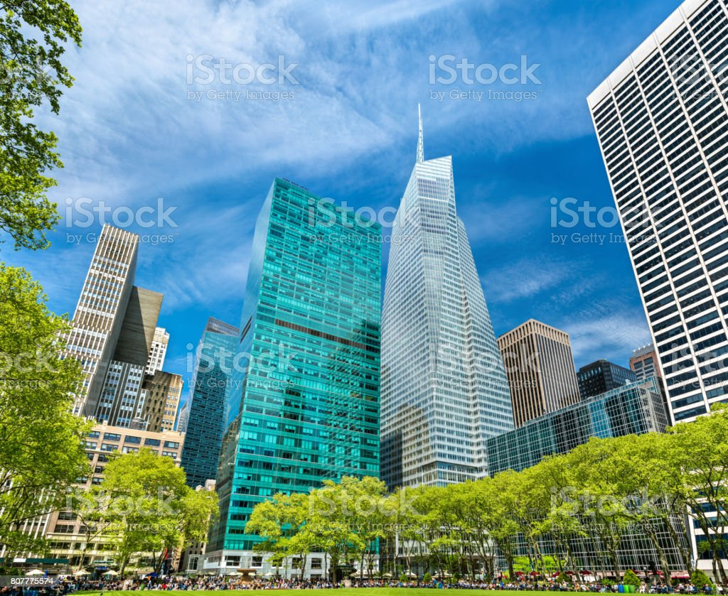 Buildings at Bryant Park in New York City stock photo