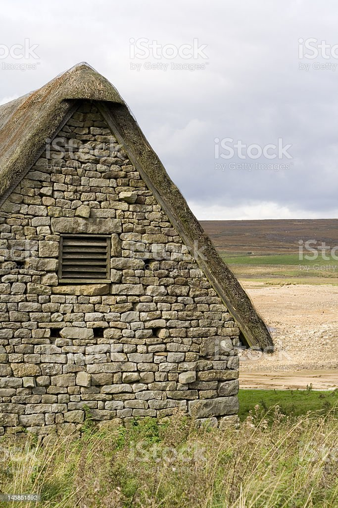 Buildings at Grimwith reservoir stock photo