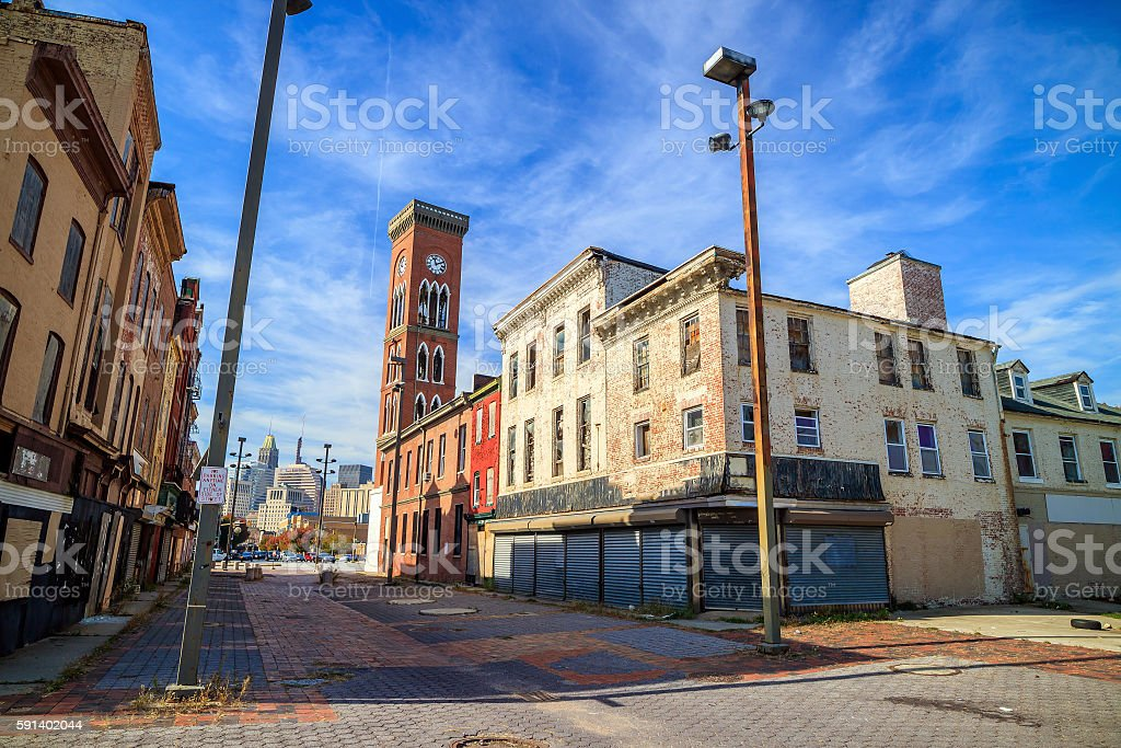 Buildings at Old Town Mall, Baltimore, stock photo