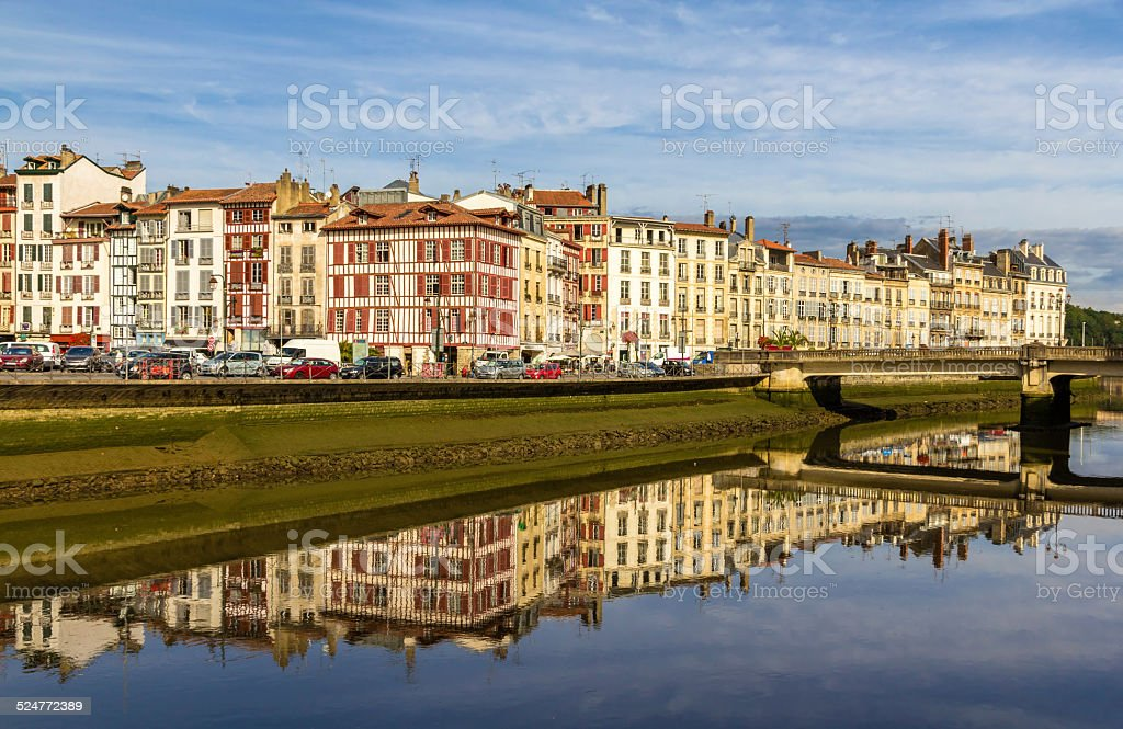 Buildings at the embankment of Bayonne - France, Aquitaine stock photo