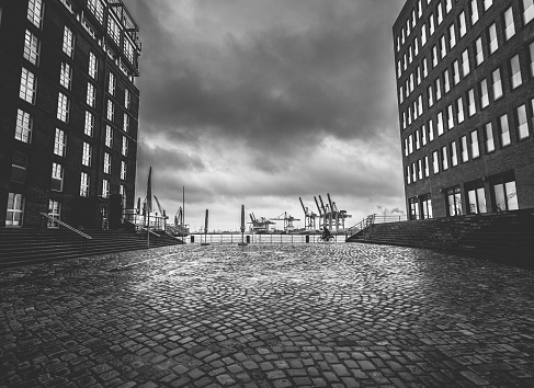 Buildings at the harbor of Hamburg
