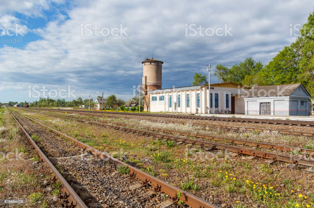 Buildings at the railway station in the village of Bezhanitsy stock photo