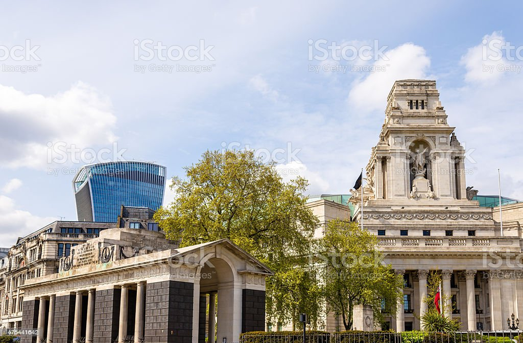 Buildings at Tower Hill in London, England stock photo