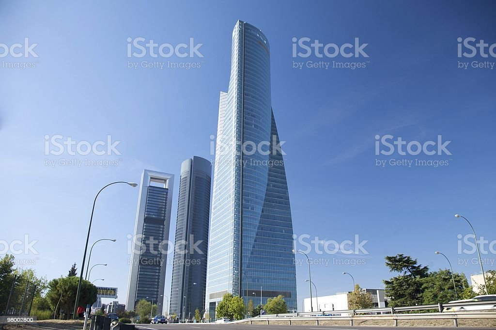 buildings business skyscrapers in Castellana street Madrid city royalty-free stock photo