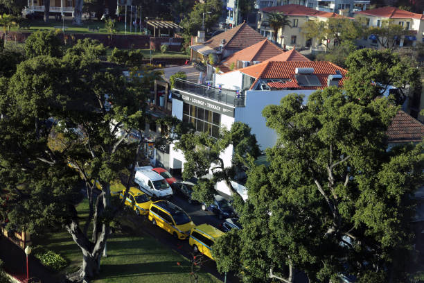 Buildings, Cars and Local Street from Above in Funchal, Madeira stock photo