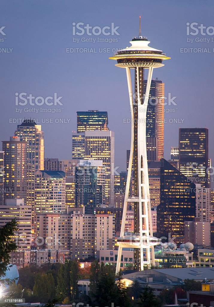 Buildings City Downtown Seattle Washington Space Needle Sunset Vertical stock photo