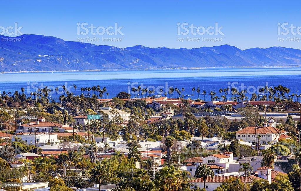 Buildings Coastline Pacific Ocean Santa Barbara California Orange Roofs Buildings Coastline Pacific Oecan Santa Barbara California Bay of Water Stock Photo