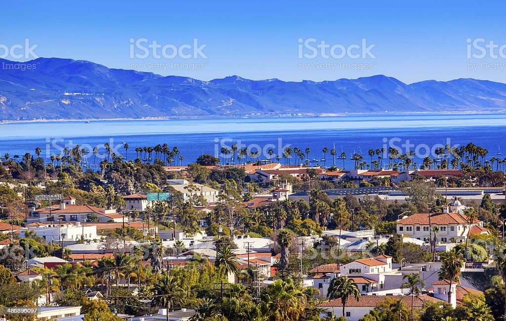 Buildings Coastline Pacific Ocean Santa Barbara California stock photo