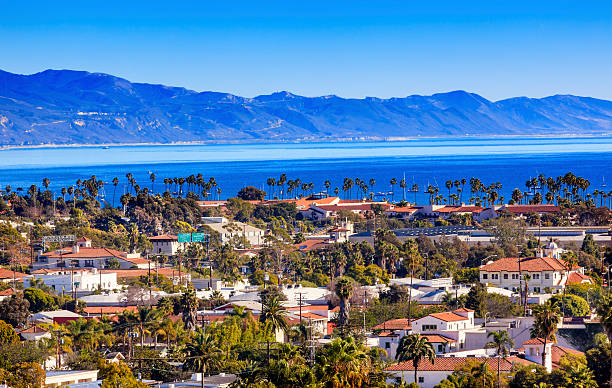 Buildings Coastline Pacific Ocean Santa Barbara California Orange Roofs Buildings Coastline Pacific Oecan Santa Barbara California santa barbara california stock pictures, royalty-free photos & images