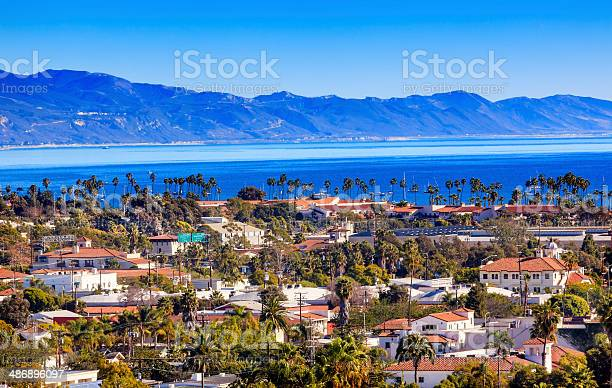 Buildings Coastline Pacific Ocean Santa Barbara California Stock Photo - Download Image Now