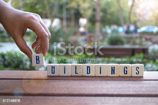 istock Buildings Concept with  alphabet blocks 512148976