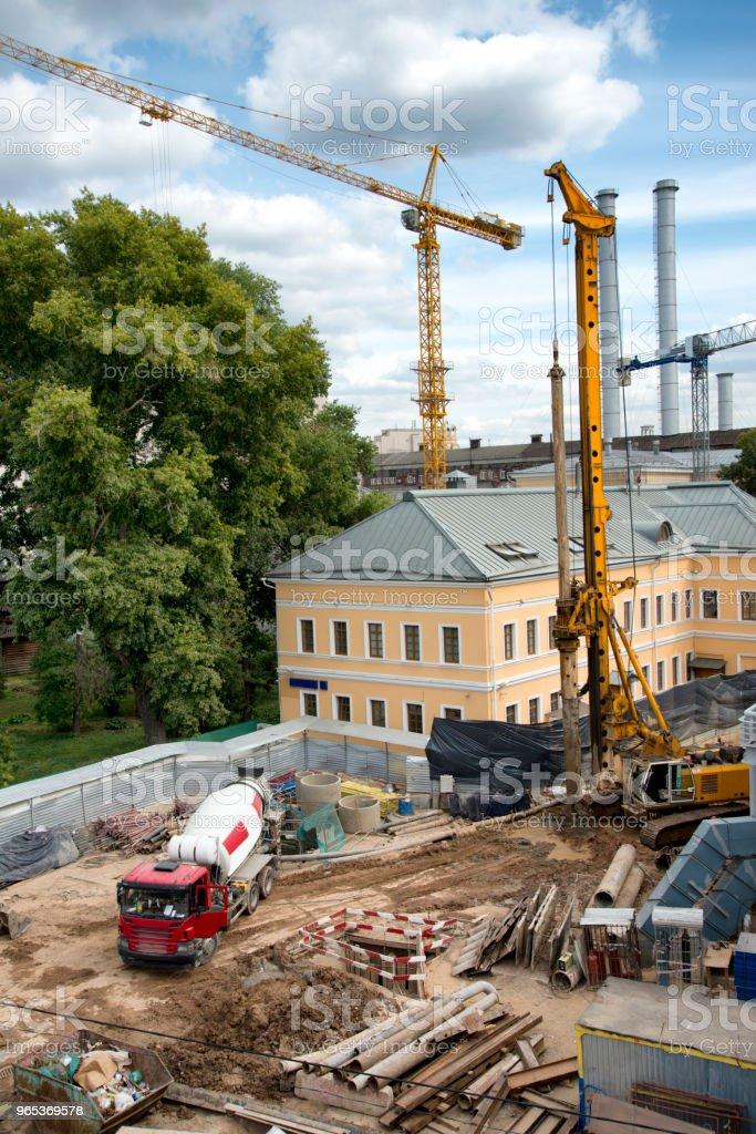 Buildings construction site in Moscow zbiór zdjęć royalty-free