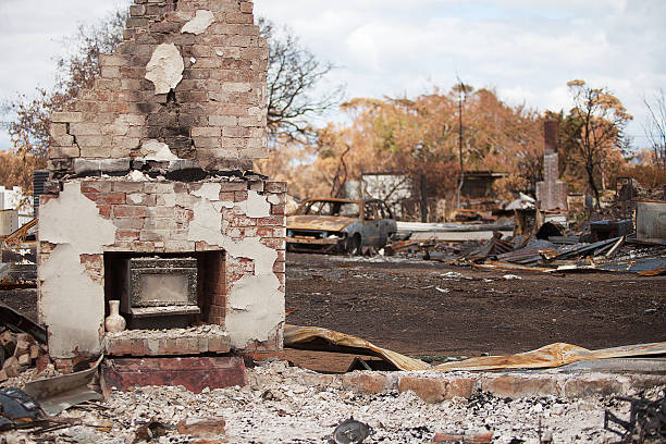 Buildings destroyed by bushfire stock photo