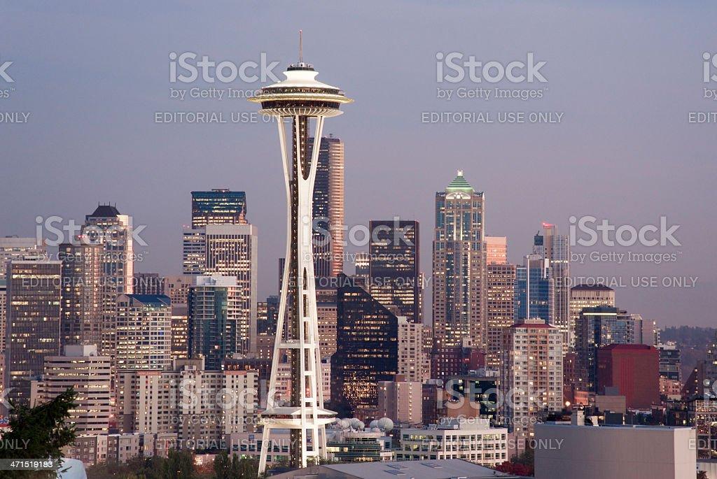 Buildings Downtown Seattle Washington Space Needle Sunset Cuty Skyline royalty-free stock photo