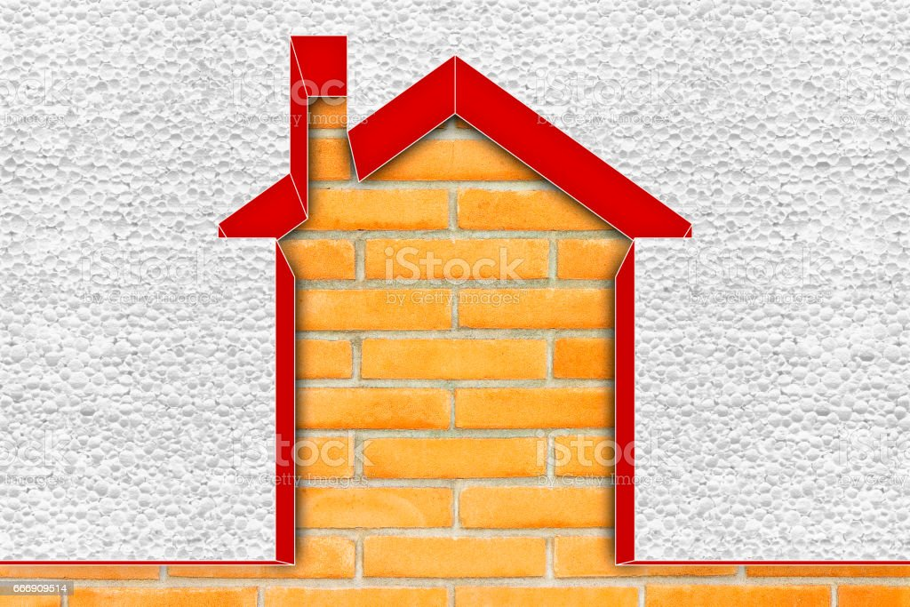 Buildings energy efficiency concept image - 3D render home thermally insulated with polystyrene walls stock photo