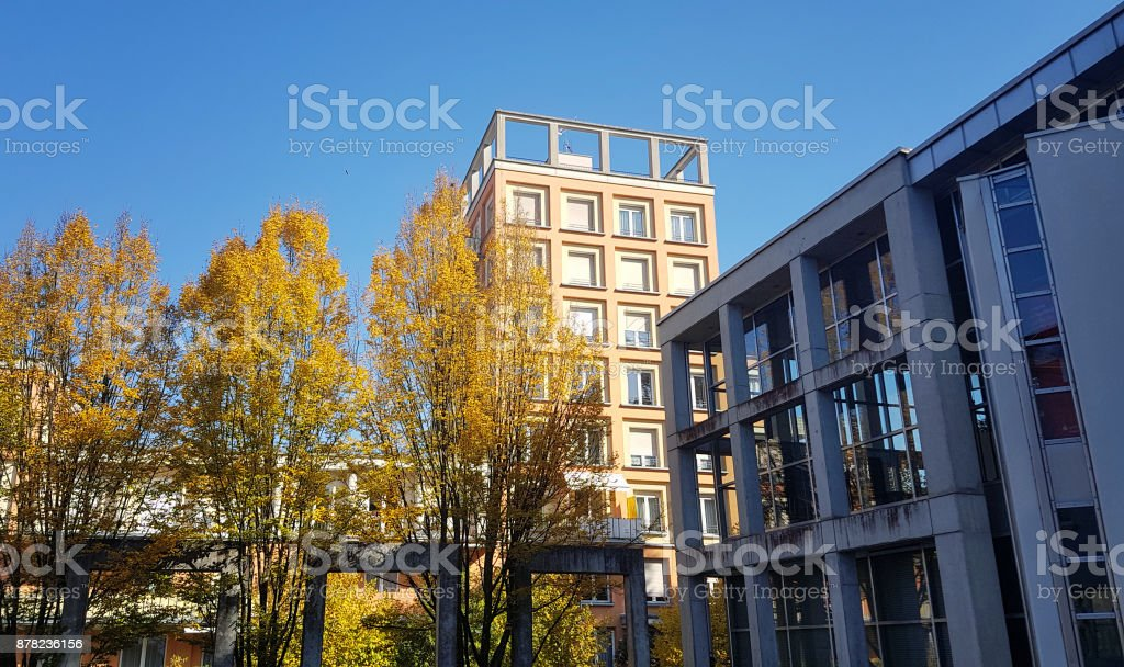 Buildings in a courtyard stock photo