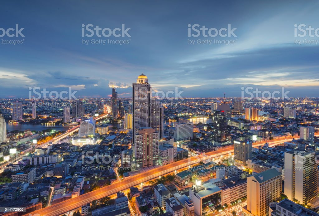 Buildings in Bangkok at sunset, Skyline, Thailand't圖像檔