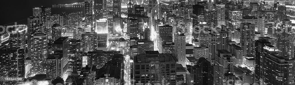 Buildings in Downtown Chicago at Night (XXXL) royalty-free stock photo