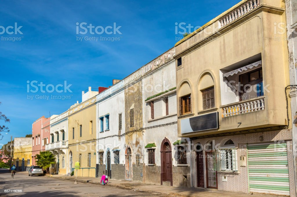 Buildings in El Jadida, Morocco stock photo