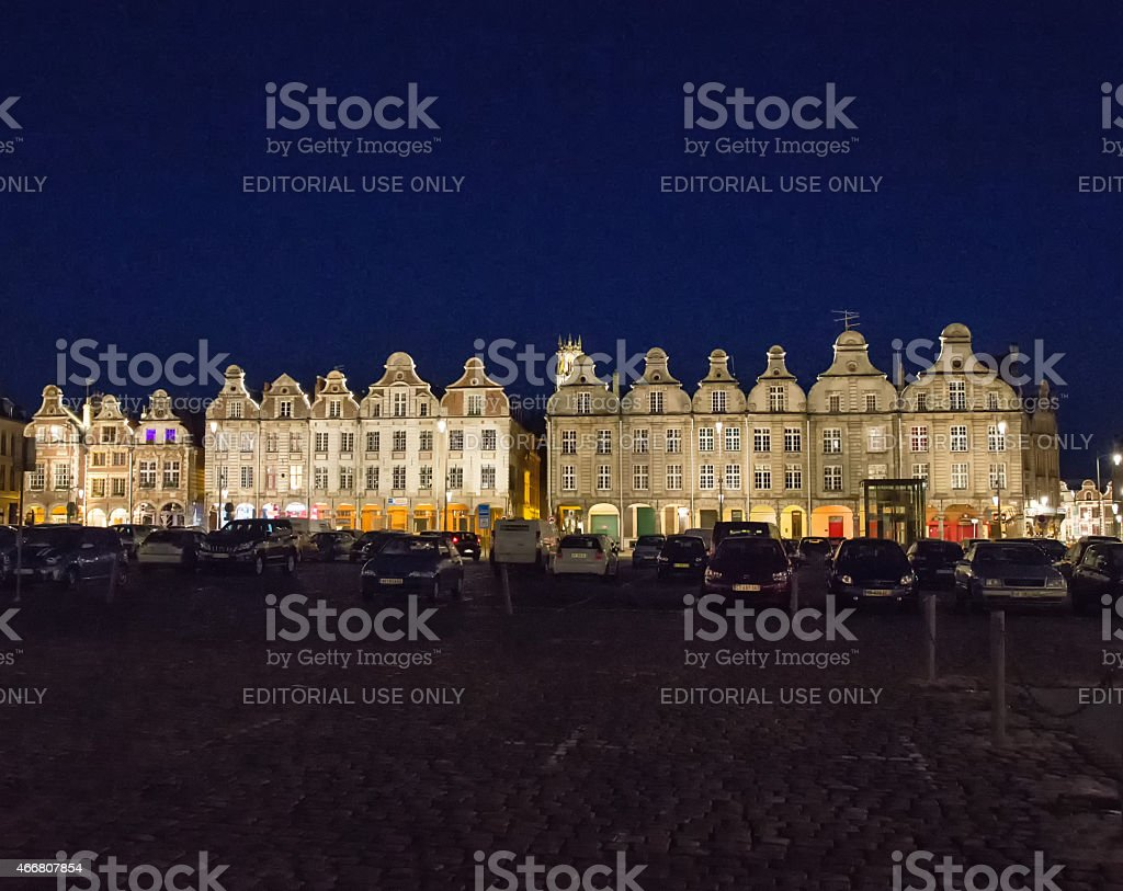 Buildings in Grande Place, Arras, France floodlit at night stock photo