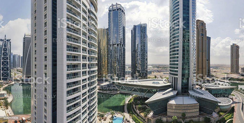 Buildings in Jumeirah Lakes Towers. stock photo
