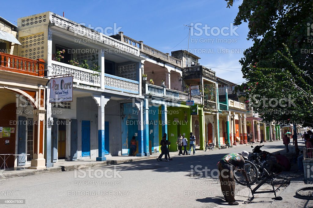 Buildings in Les Cayes stock photo