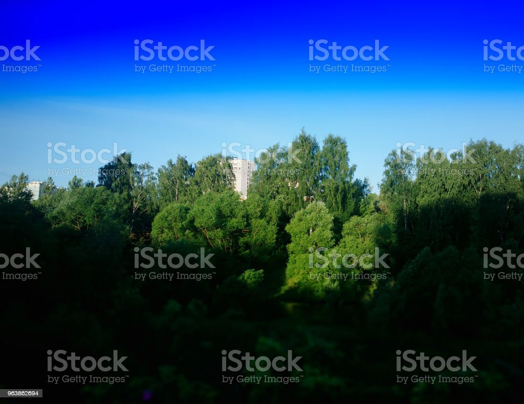 Buildings in park line landscape background - Royalty-free Awe Stock Photo