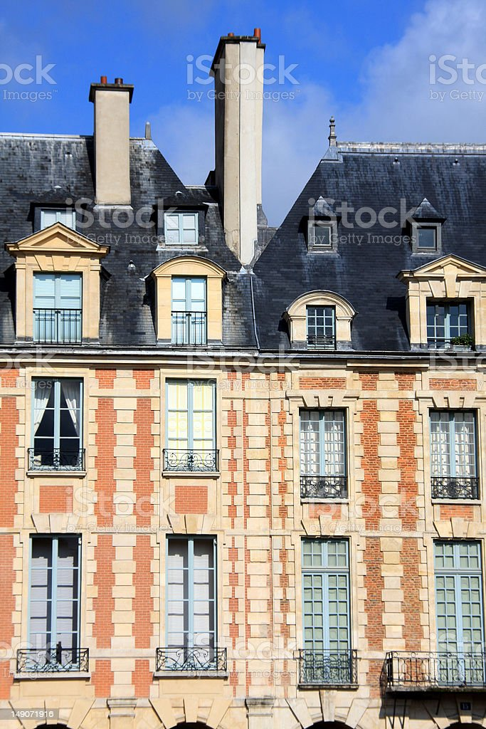 Buildings in 'Place Vosges' stock photo