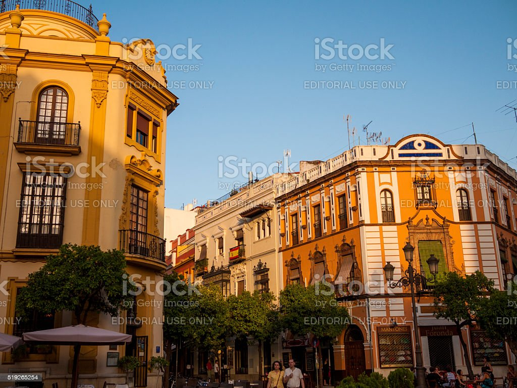 Buildings in Plaza Virgen de los Reyes in Seville, Spain stock photo