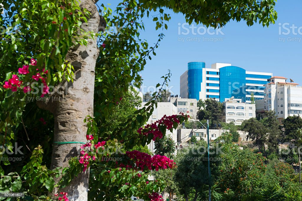 Buildings in Ramallah, Palestine stock photo