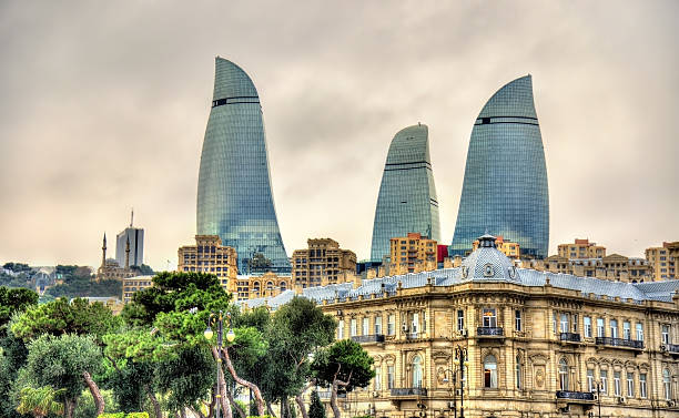 Buildings in the city centre of Baku stock photo